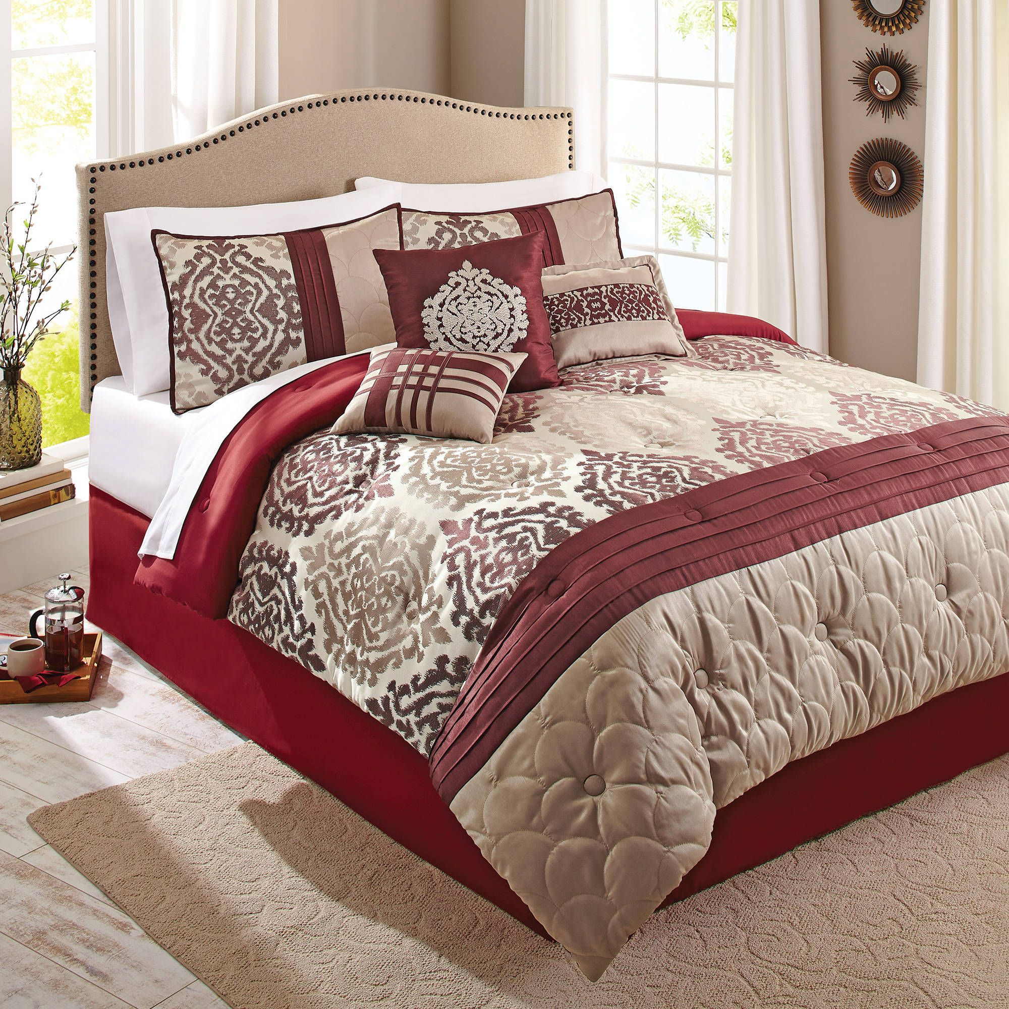 better homes and gardens 7piece bedding comforter set red ikat