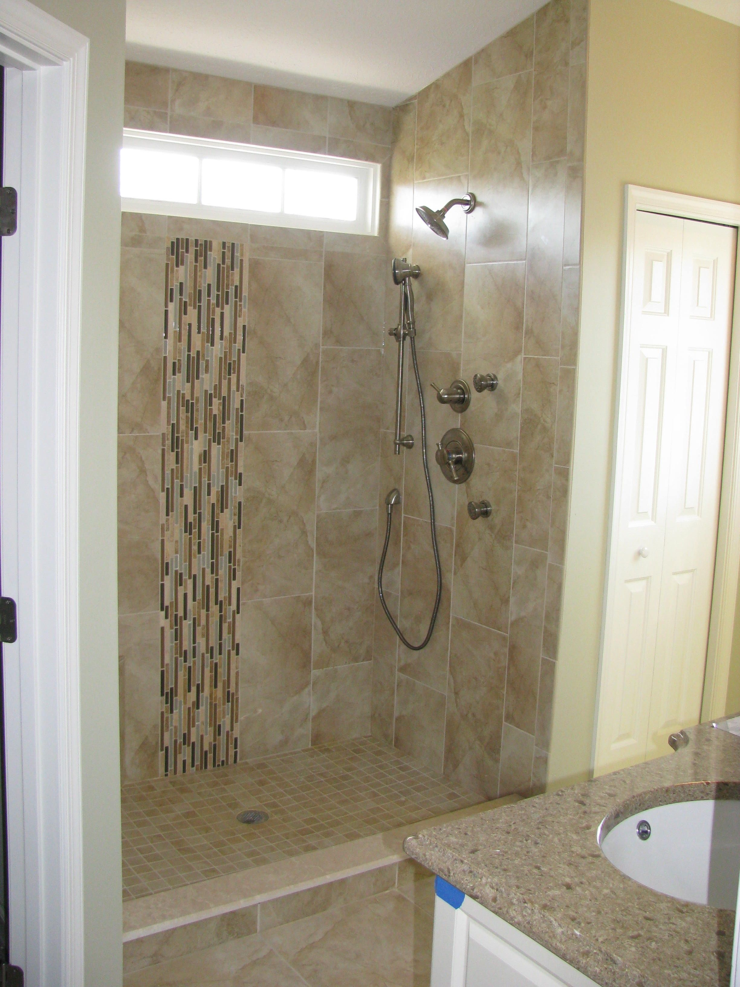 Could We Just Do A Tile Lip Around Shower Area Home Bathroom - Wall paneling for bathroom for bathroom decor ideas