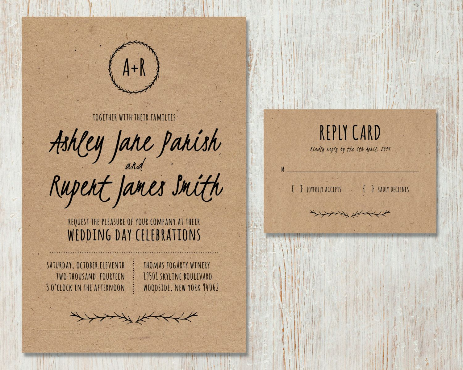 Rustic Wedding Invitation DIY Kraft Paper Di PaperRouteCollective, $28,00