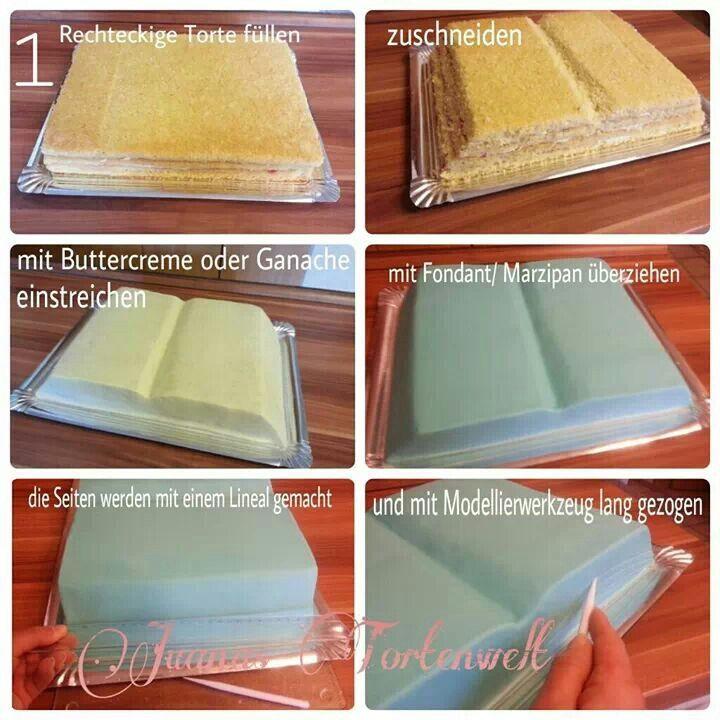 Buchtorte  Fondant  Buch kuchen Torte konfirmation und