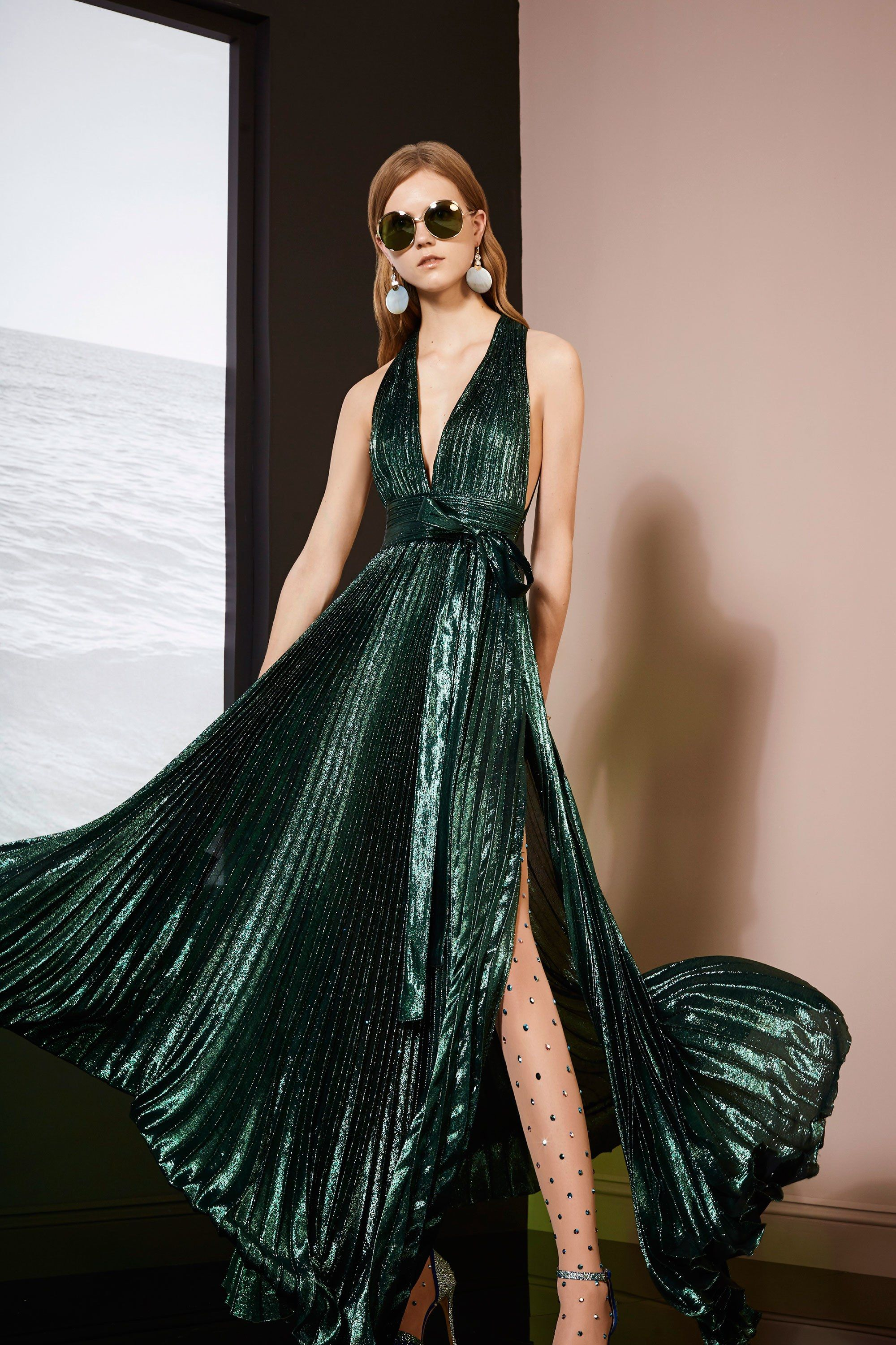 Elie Saab Resort 2018  Stunning metallic green gown with intricate knife  pleats! I love the modern take on Marilyn Monroe s iconic look! 52e6d1671