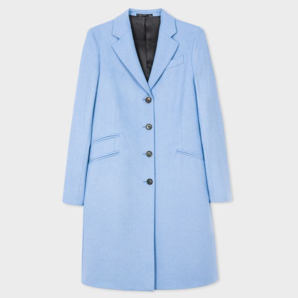 vente chaude en ligne 3e173 5cc2b Manteau Femme Epsom Bleu Ciel En Laine Et Cachemire | mode ...