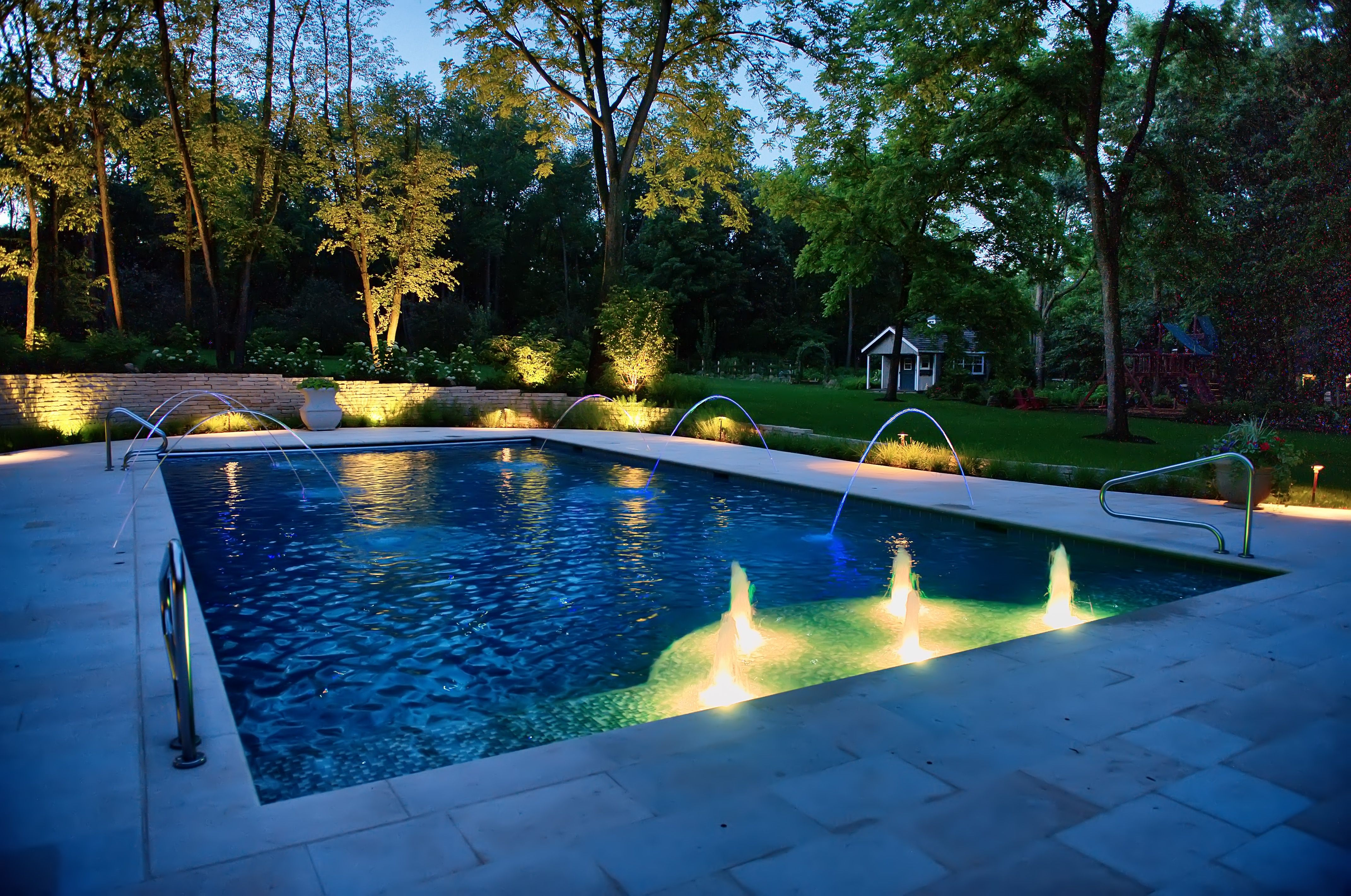 Outdoor Swimming Pool With Star Floor Built In Barrington Hills Il By Platinum Poolcare Phone