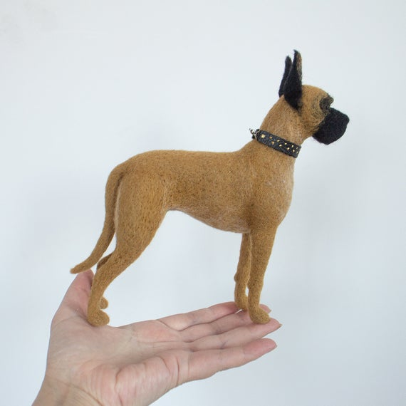 Pale Great Dane Felted Dog Portrait Wool Great Dane Figurine Gift