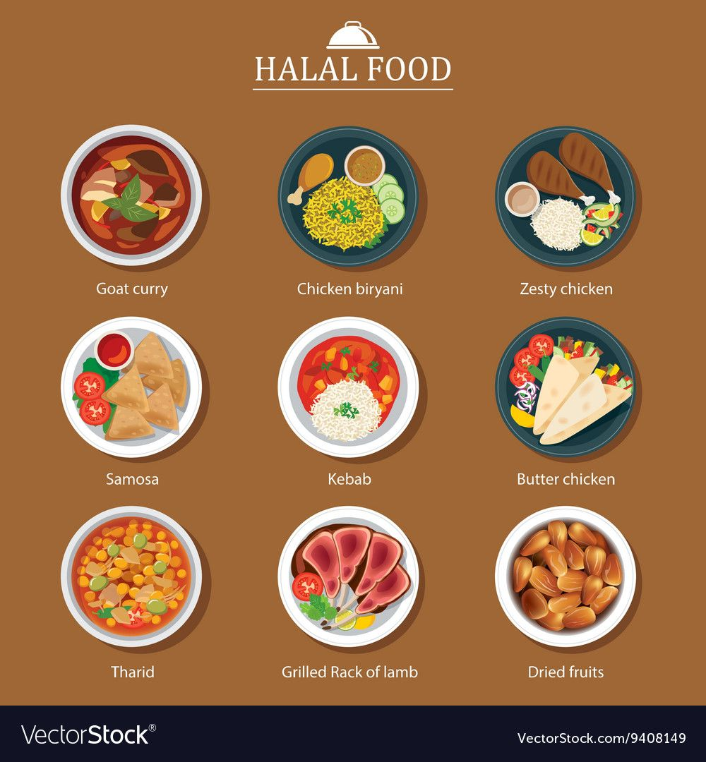 Set Of Halal Food Flat Design Vector Image On Vectorstock Di 2020 Seni Makanan Makanan Makanan Dan Minuman