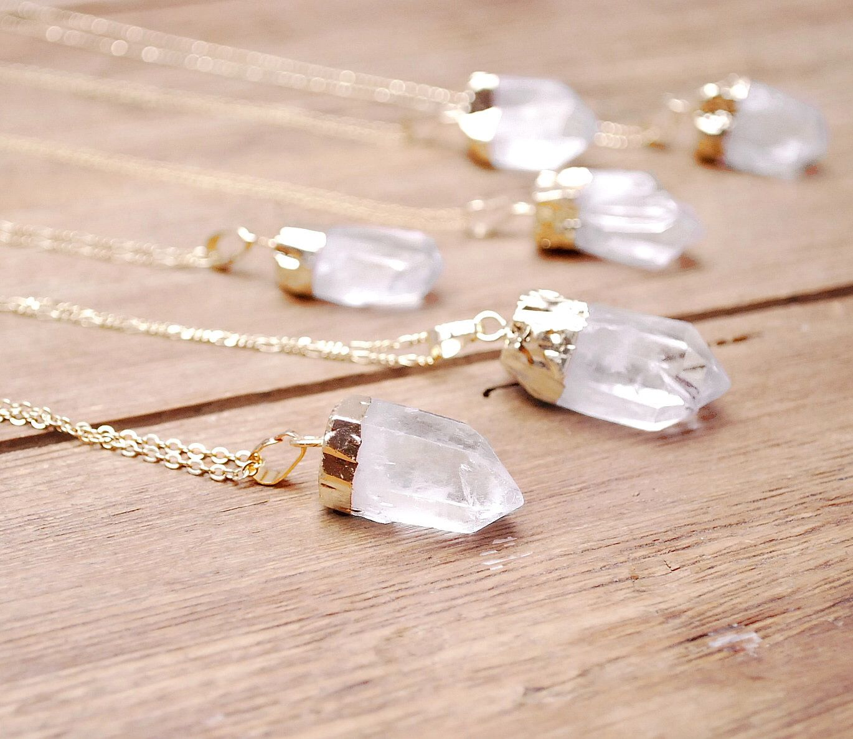 Raw quartz necklace gold dipped nugget quartz pendant raw quartz