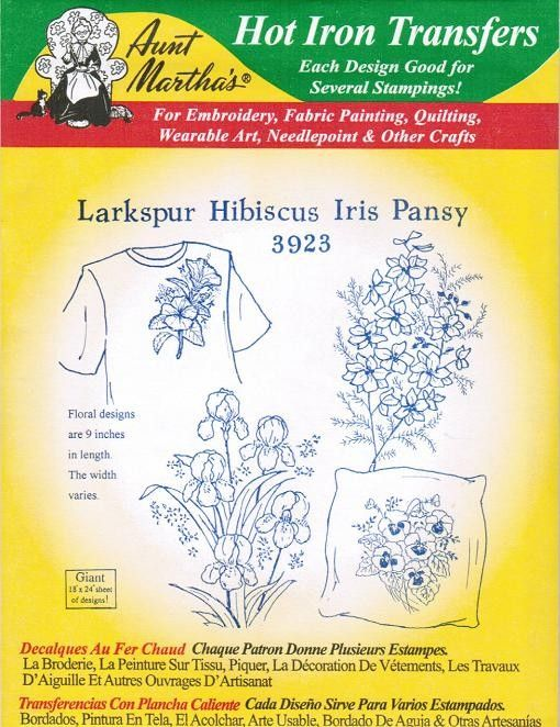 Larkspur Hibiscus Iris Aunt Martha\'s Embroidery Transfer Designs ...