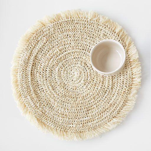 image du produit set de table rond en paille franges naturel home pinterest. Black Bedroom Furniture Sets. Home Design Ideas