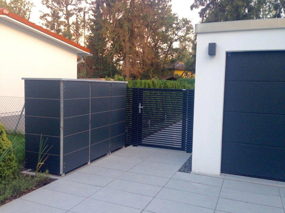m lltonnenbox in anthrazit perfekt zu moderner architektur und gestaltungsmerkmal f r den. Black Bedroom Furniture Sets. Home Design Ideas