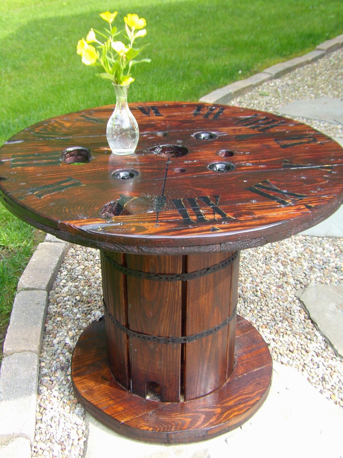 Spool Table clock face top Side Table Upcycled from Addiction