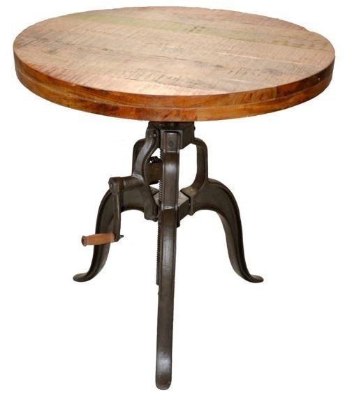 Industrial Round Bar Table Crank Wood End Accent Adjustable Restoration  Hardware