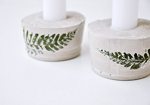 NATURKINDER: Candle Holders with Farn Leaves