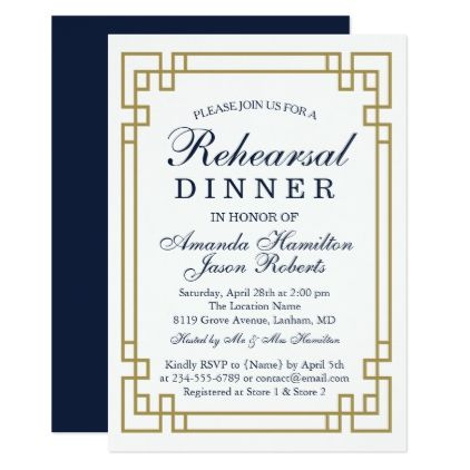 elegant geometric golden frame rehearsal dinner card rehearsal