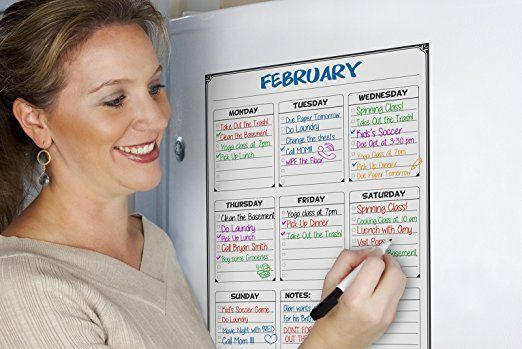 """Amazon.com : Flat Harmony Weekly Whiteboard Planner, 17"""" by 12"""" Magnetic Dry Erase Board for Refrigerators, Daily Reminders for Your Fridge, Comes with 3 Dry Erase Markers : Office Products"""