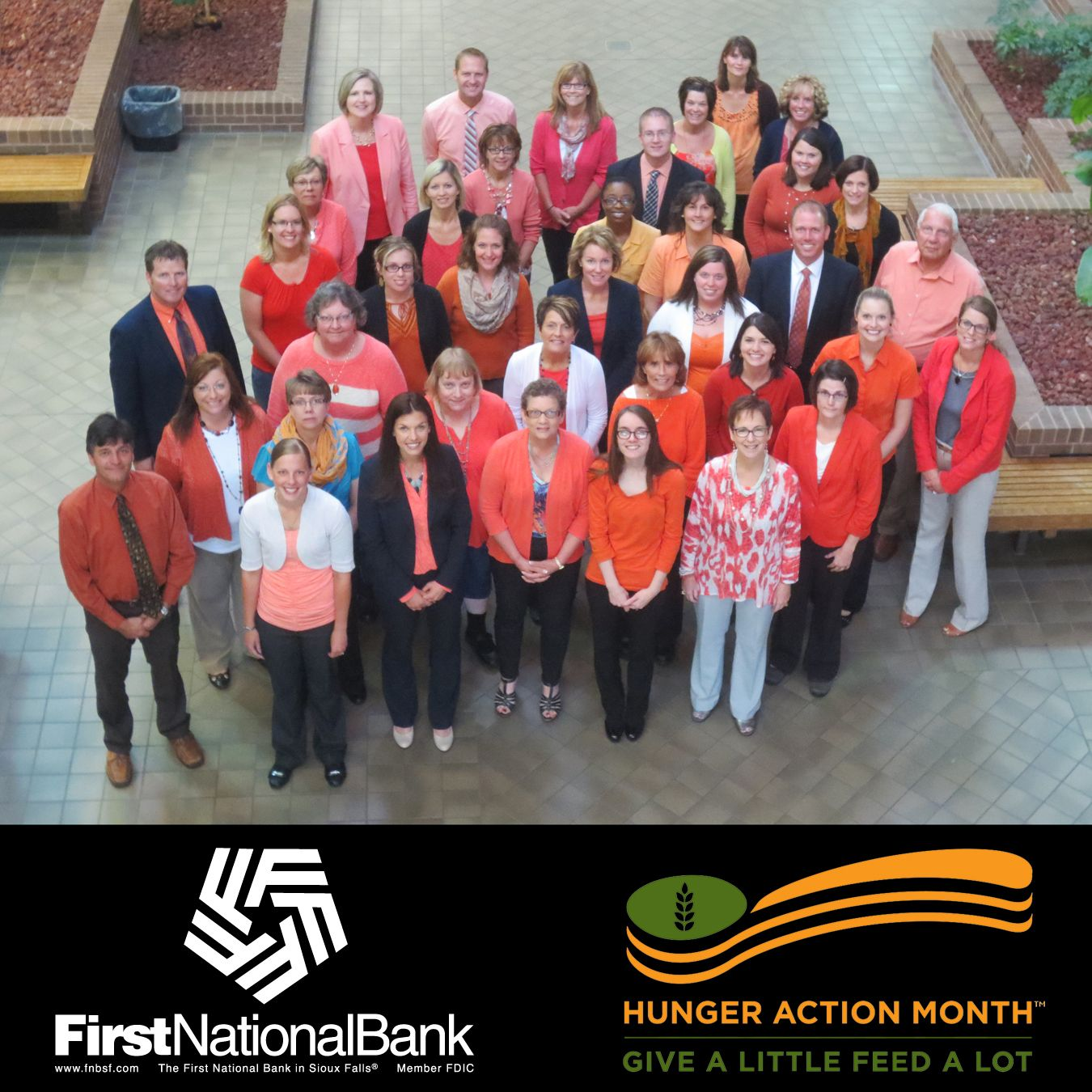FNB employees have gone ORANGE in support of hunger awareness! #HungerActionMonth #FeedingAmerica