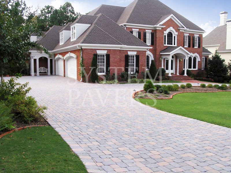 Driveway Pavers On A Long Driveway Around The House
