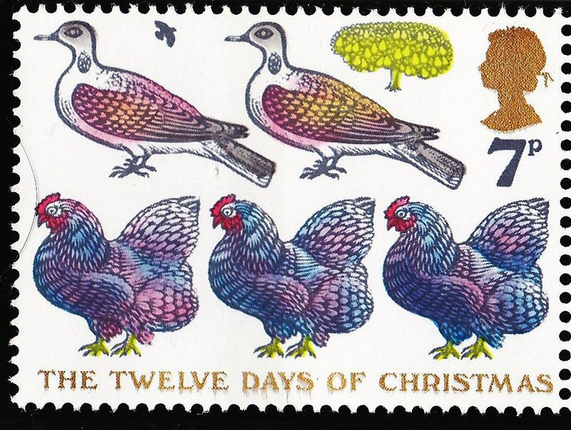 Royal Mail Christmas 1977 7p postage stamp - part of a series featuring the 12 days of Christmas