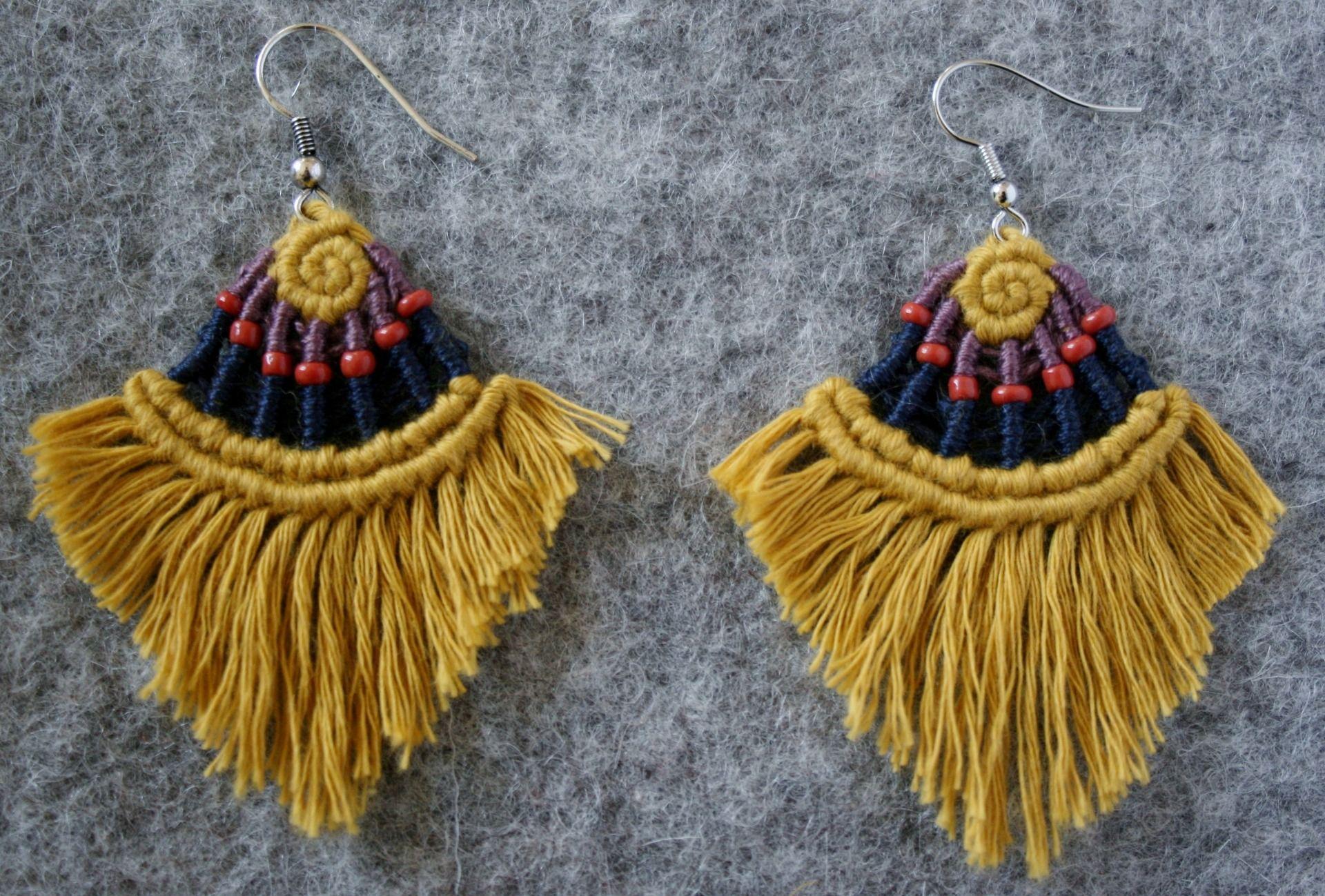 Vintage Boho Coton Tassel Boucles d/'oreilles créoles long Tassel Oreille Crochet Femmes Bijoux Cadeau