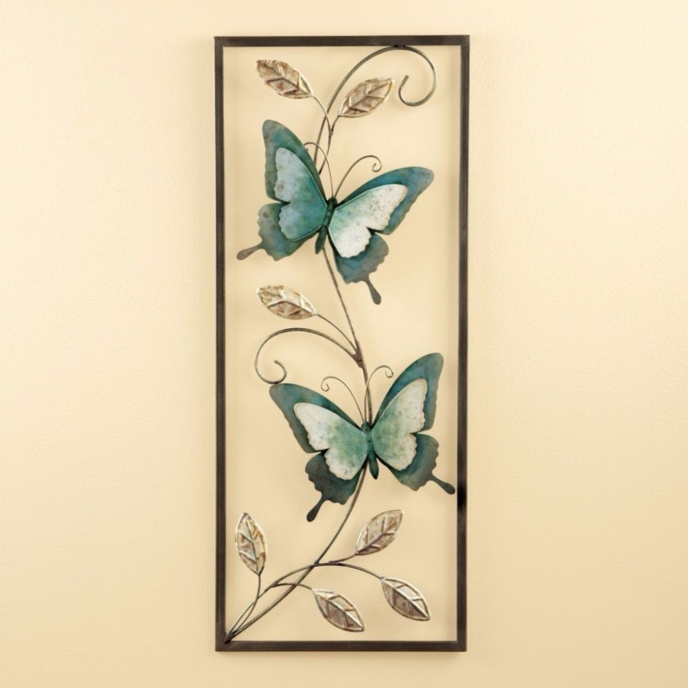 Beautiful Framed Blue Butterflies Metal Wall Art Swirling Vines ...