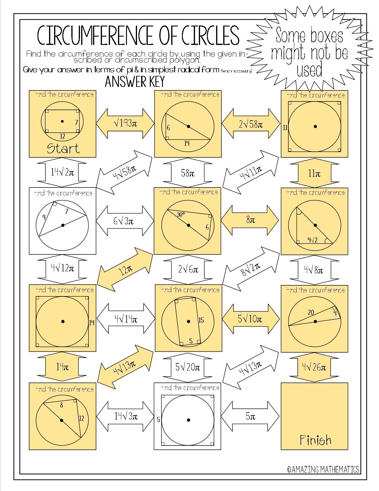 Worksheets Circumference Worksheets circumference of circles maze using inscribed circumscribed polygons
