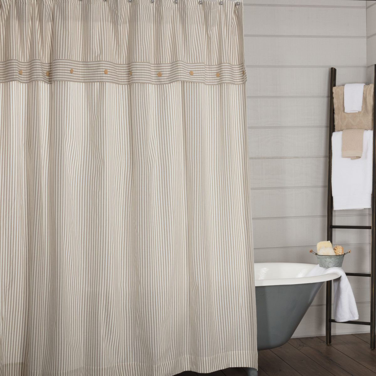 Farmhouse Ticking Taupe Shower Curtain Piper Classics Striped