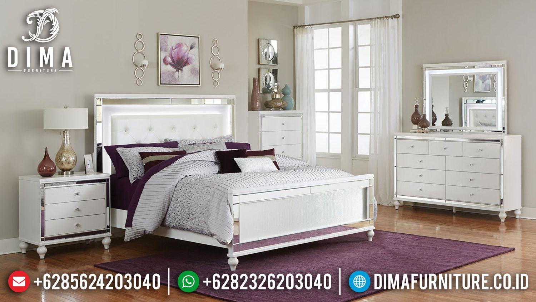 Tempat Tidur Jepara Minimalis White Duco Paint Led Mmj 0180