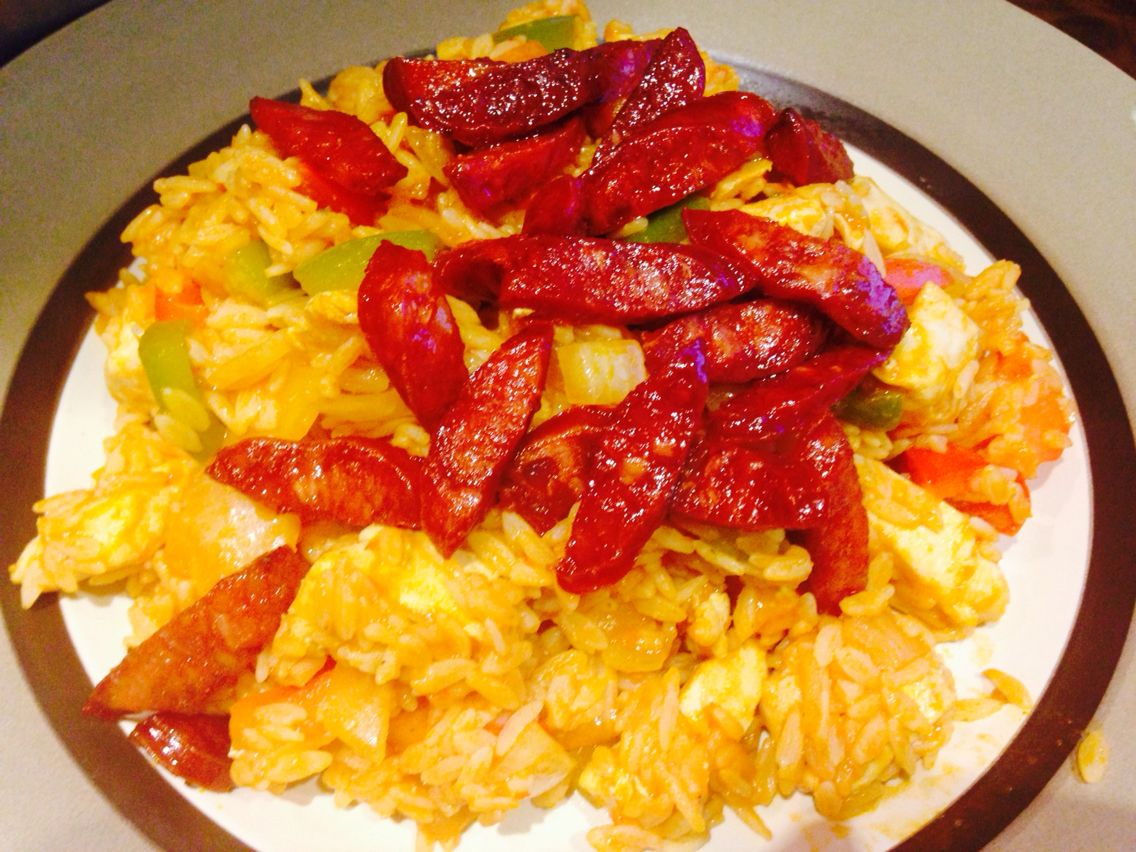 Delicious Spicy Mexican Chicken One Pan Rice with Chorizo...Yum!