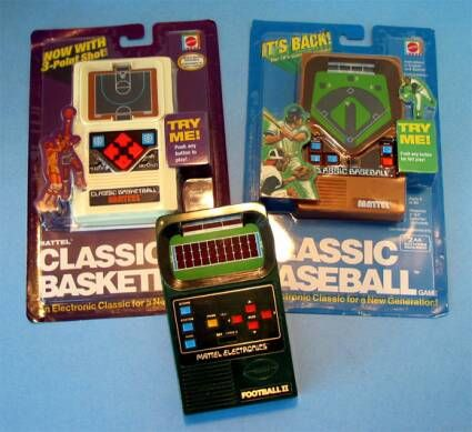 Old School Handheld Video Games Basketball Games Flanked By