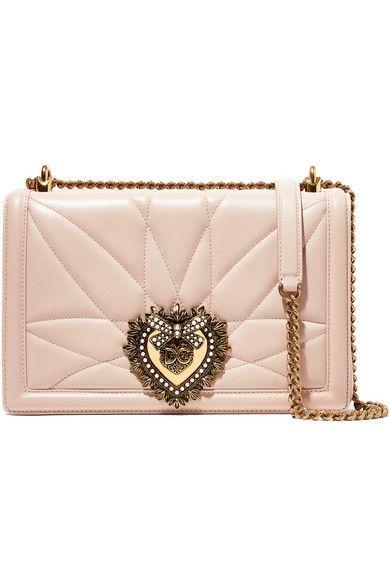 d91965b98a1 Dolce   Gabbana - Devotion Embellished Quilted Leather Shoulder Bag -  Pastel pink