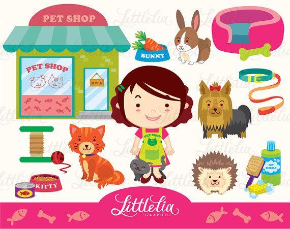 Girl S Pet Shop Clipart Set Instant Download 14008 Etsy Clip Art Pet Adoption Party Shopping Clipart