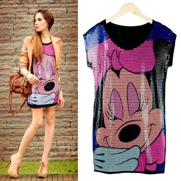 32cea033827 Womens Sequin Minnie Mouse Dress