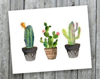 Cactus Arredamento ~ Cacti art print printable art watercolor cactus hand painted