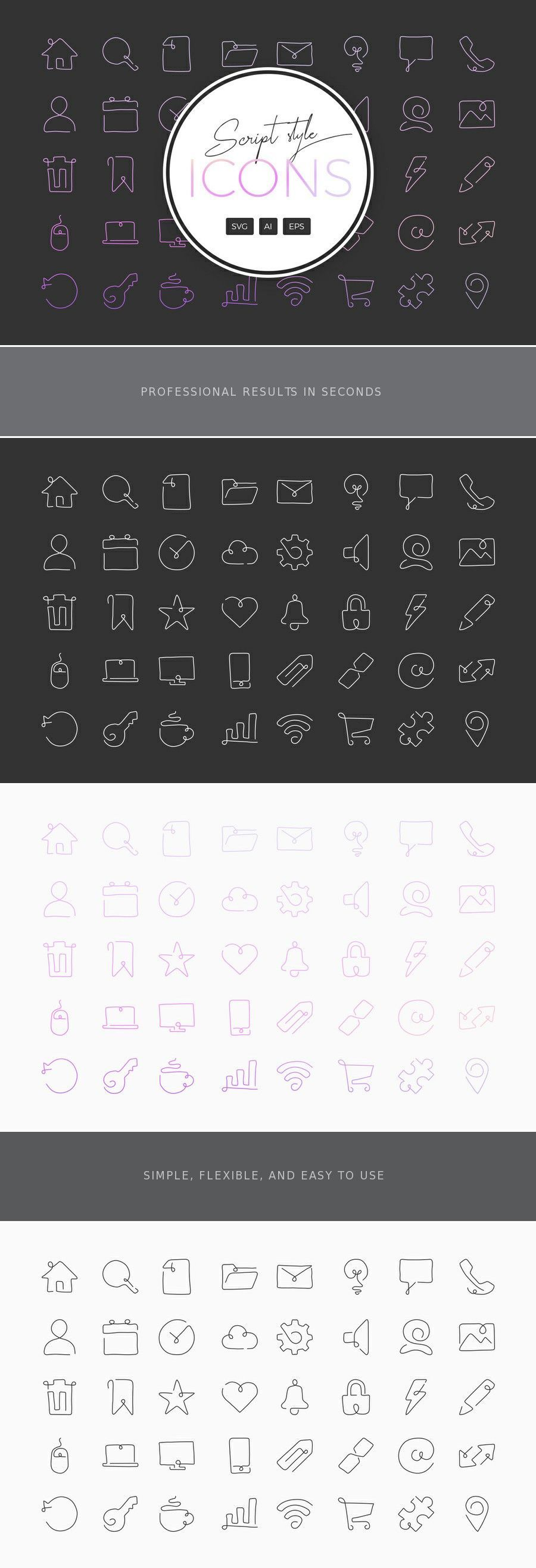 Curved ScriptStyle Single Line Icons Line icon, Icon