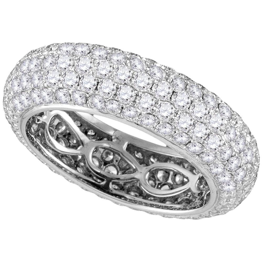 14kt White Gold Womens Round Paveset Diamond Comfort