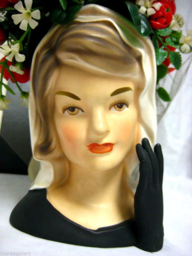 Vintage Inarco Head Vase Jackie Kennedy Mourning Jacqueline With