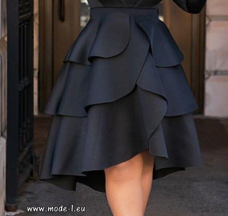 aae5754ff1e5 A-Line Röcke mit hohem Bund in Schwarz Online   Damen Rock ...