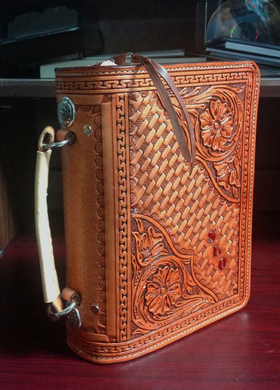 Custom Hand Tooled Leather Bible Cover With Snap Enclosure