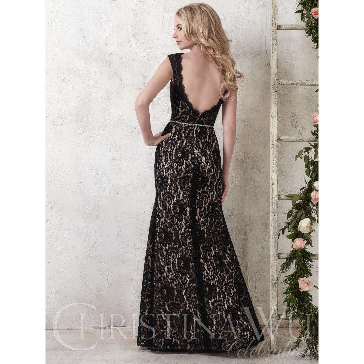 (IV3157) Lace Fit & Flare Bridesmaid Style w/Dramatic Open Back & Audrey Neckline. Beautiful Style For Your Bridesmaids, Equally Stunning In Light Colors As an Informal Wedding Gown or Reception Dress.