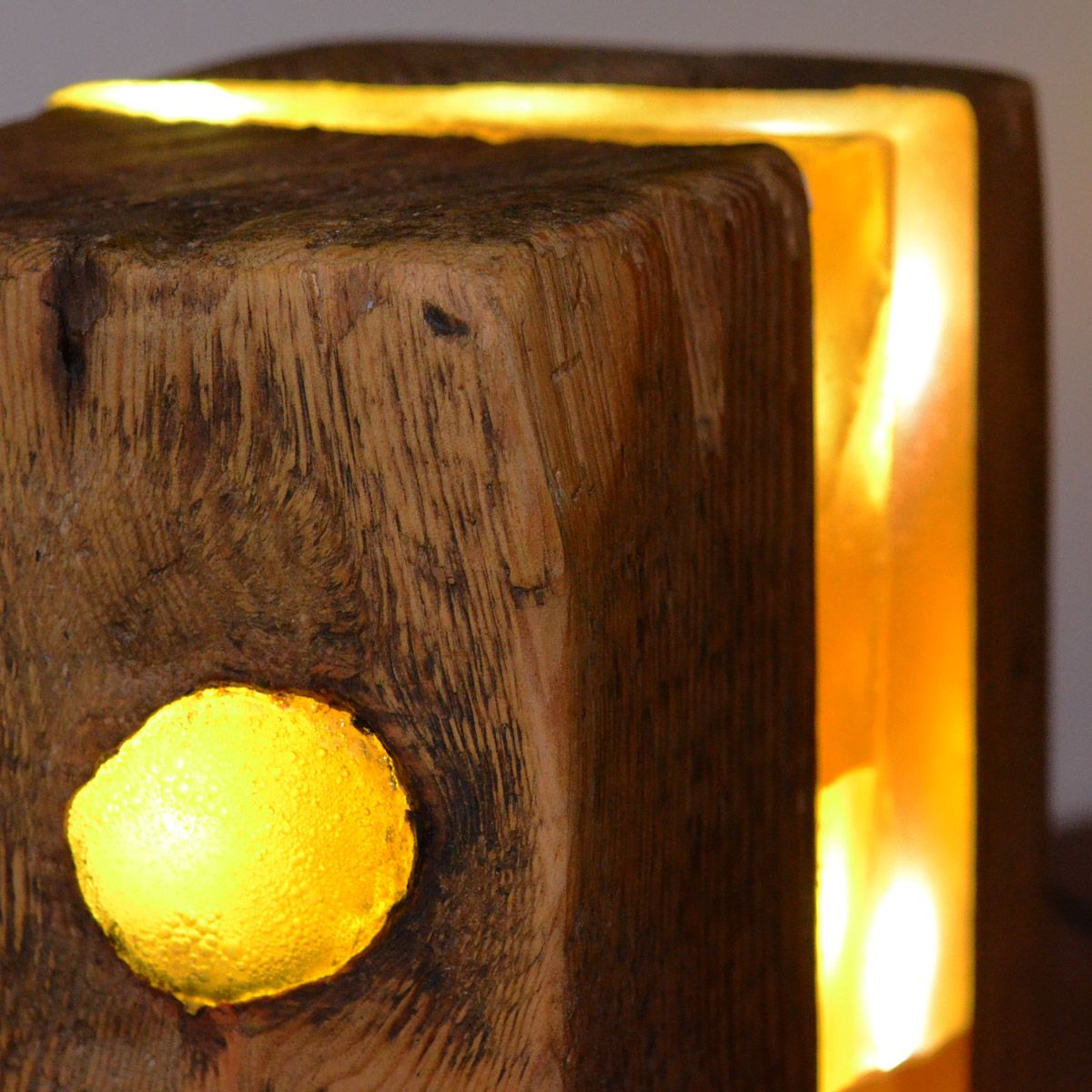 Cast Wood Art : Resin woodblock lamp light sculpture made from old block