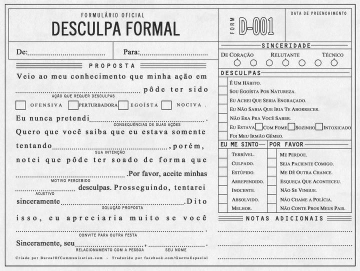 Formulário Oficial De Desculpa Formal