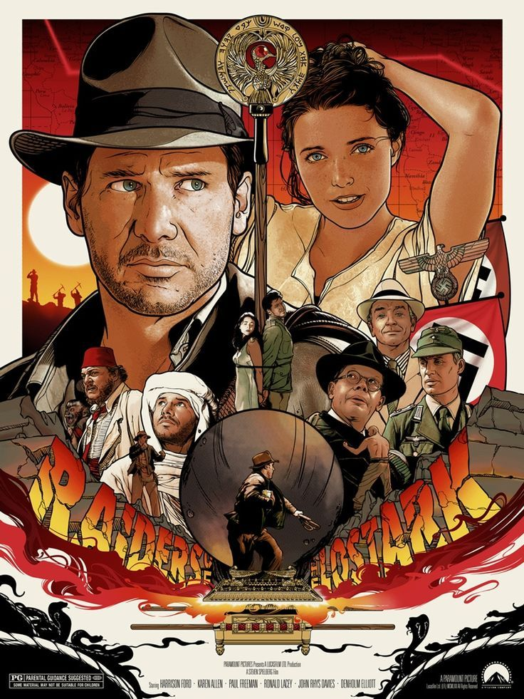 58c605fbb14 Movie Poster Drawing - Indiana Jones - Raiders of the Lost Ark ...