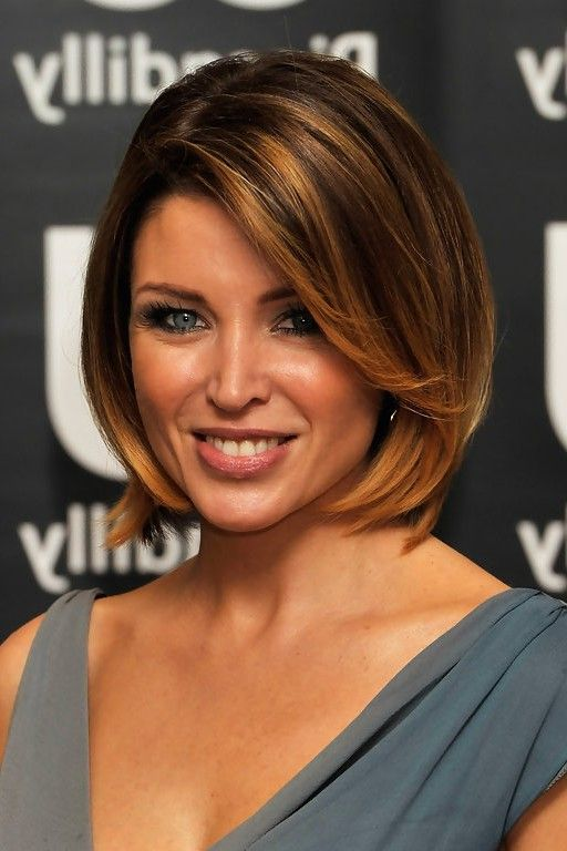 Dannii Minogue Chic Short Bob Haircut with Bangs for Thick Hair ...