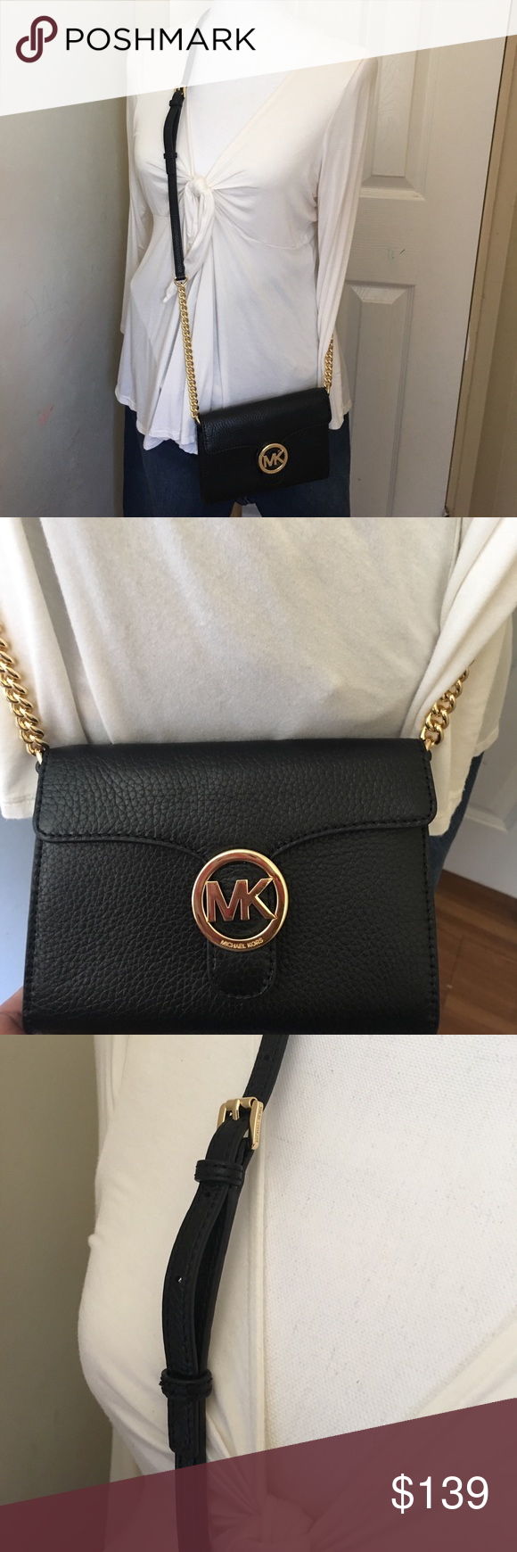 542f288a42a005 Michael kors vanna lg phone crossbody leather bag Brand new crossbody bag.  Black color. 7
