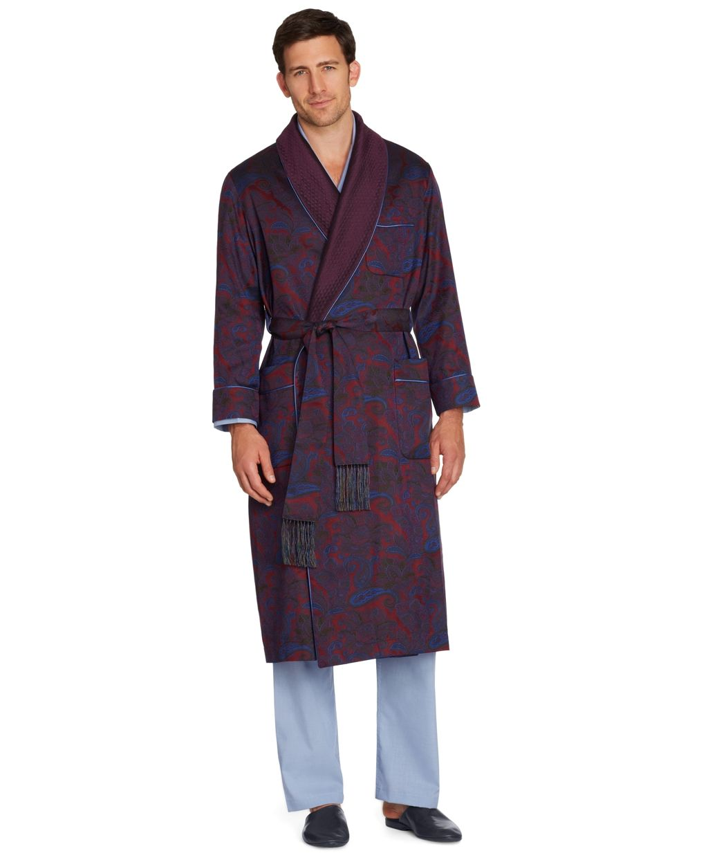 Brooks Brothers Silk Paisley Dressing Gown in Red for Men (dark red ...