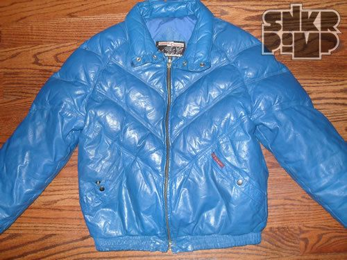 0d38640b9 VINTAGE 80s DOUBLE GOOSE COUNTRY V BLUE LEATHER DOWN COAT JACKET | a ...