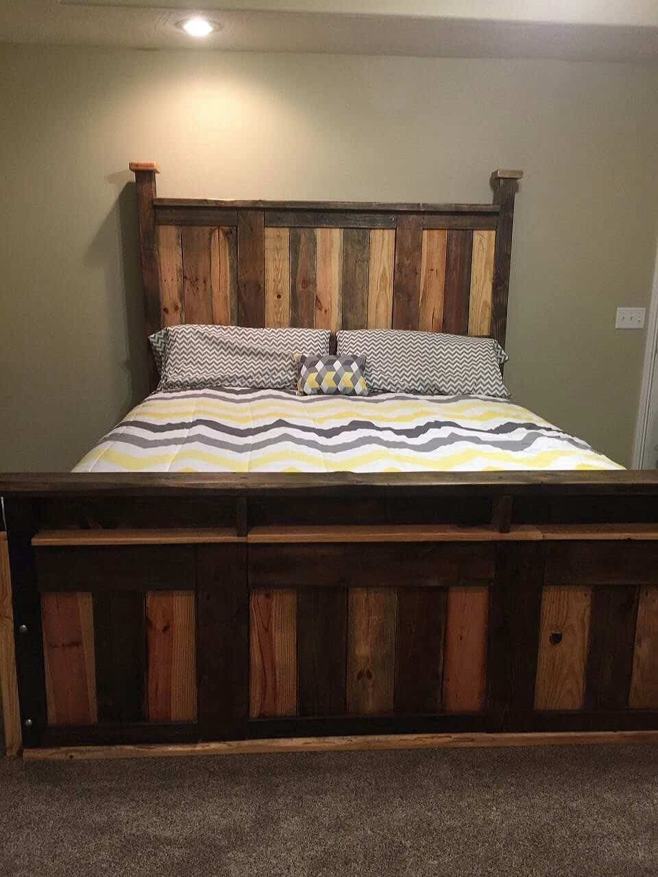 This Two Toned Pallet King Size Bed Frame Was Made From Scrap