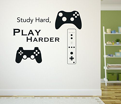 Study Hard Play Harder Video Games Decor Wall Decal Vinyl