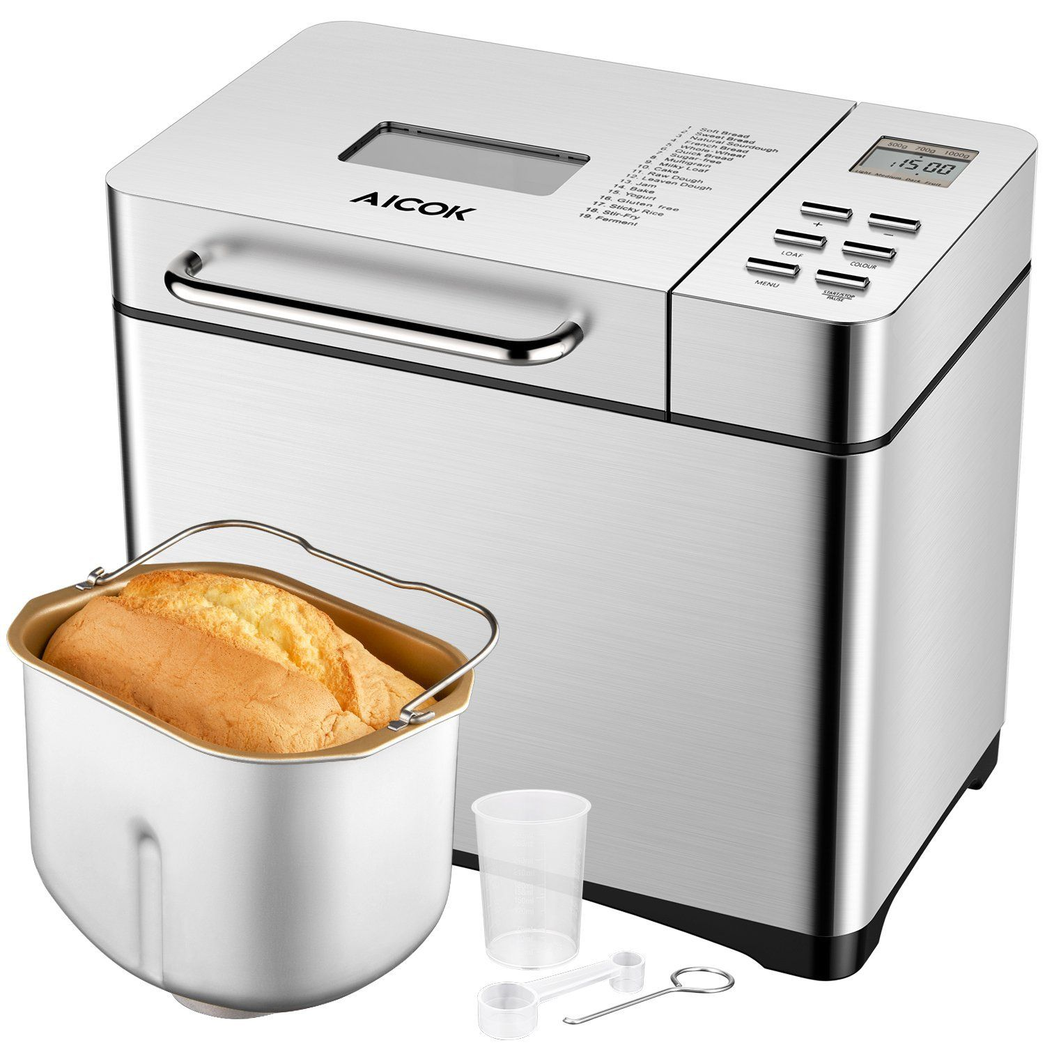 Aicok Programmable Bread Machine, 2.2LB Stainless Steel