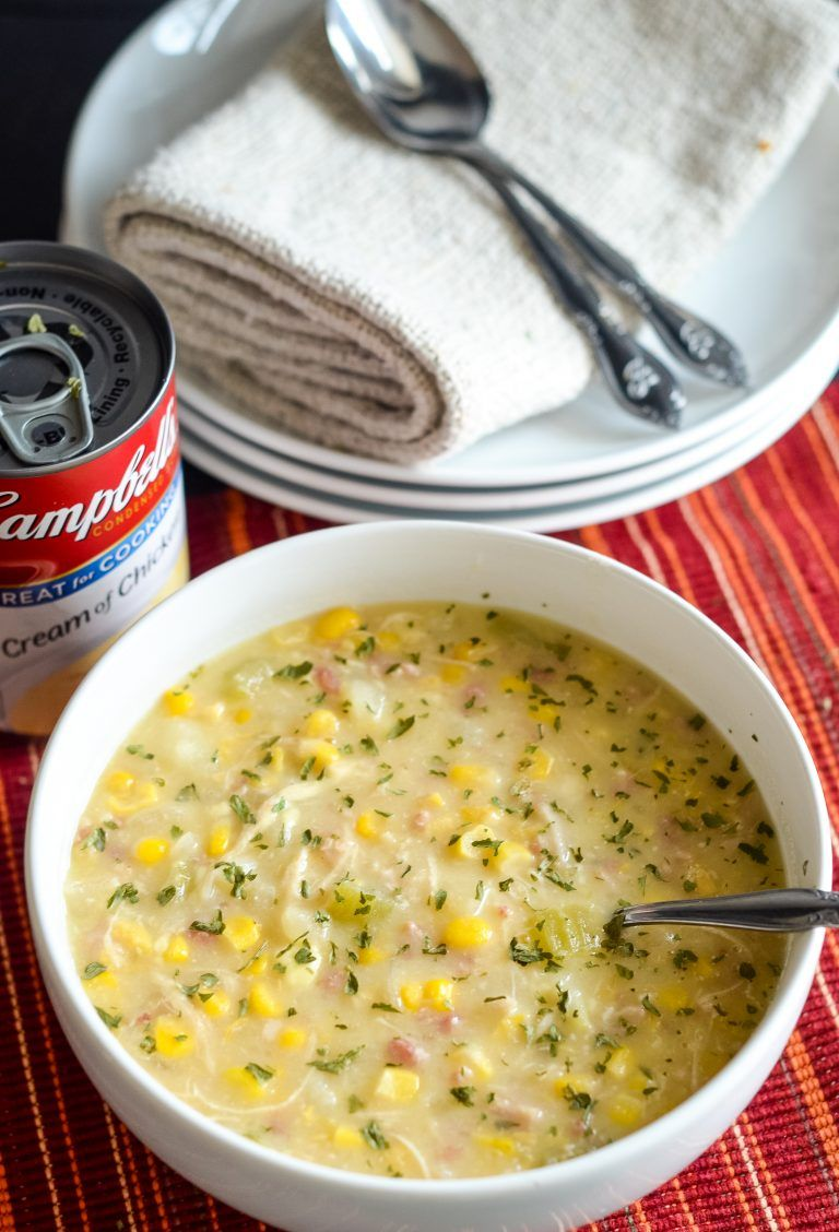 Slow Cooker Creamy Chicken And Corn Chowder Recipe Chicken Soup Recipes Crockpot Slow Cooker Soup Campbells Soup Recipes