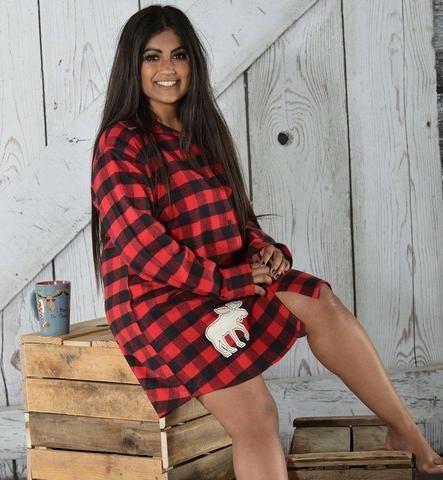 PRE ORDER - Lazy One Moose Plaid Ladies Flannel Night Shirt Matching  Christmas Pj s - Buffalo 24fa2bcb7